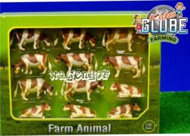 12 cows Fleckvee Rd / Brown - KG571968 - Kids Globe Scale 1:32
