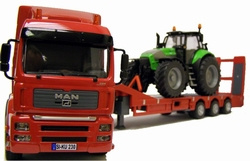 Man with Low Loader (With remote control) now in red. Siku Scale 1:32