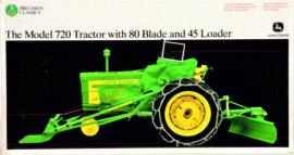John Deere 720 tractor with slide and type 45 front loader prec model no 18 ERTL15165.