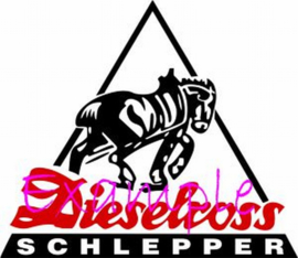 Dieselross Schlepper logo on flag +/- 35/50 cm.
