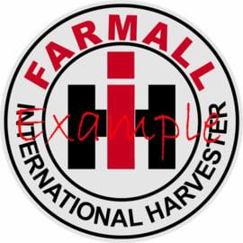 Farmall IH rond logo op vlag +/- 35X50cm Farmall IH R