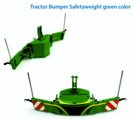 Tractor safety bumper with front weight in Green color. UH5374