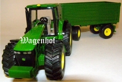 John Deere 8430 with 4 wheel car Siku Scale 1:50