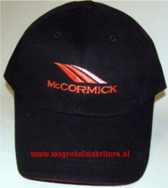 McCormick cap red logo with red sandwich brim in peak.