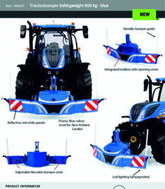Tractor Safety bumper with weight in New Holland Blue. UH6251. 1:32