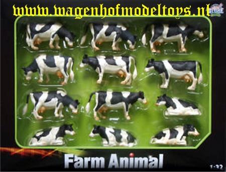 12 stuks zwartbonte koeien - KG571929 - Kids Globe Schaal 1:32