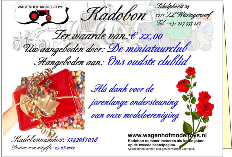 kadobon (Coupon) Wagenhof Model-Toys. Waarde naar keuze