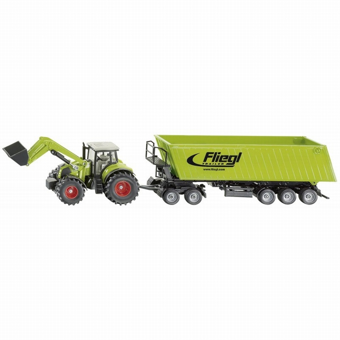 Claas with front loader + Fliegl tipping trailer SI1949 Siku Scale 1:50