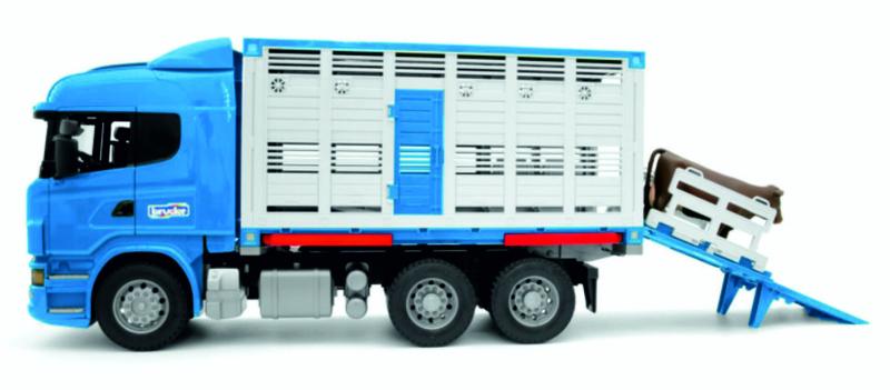 Scania R-serie veetransportwagen in Blauw incl. 1 koe.  Bruder BRU03549 Schaal 1:16