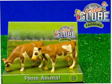 2 standing cows red brown Fleckvee - KG571970. Kids Globe Scale 1:32
