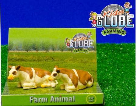 2 liggende koeien roodbruin Fleckvee - KG571969. - Kids Globe Schaal 1:32