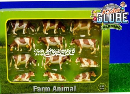 12 koeien Fleckvee Rd/Bruin - KG571968 - Kids Globe Schaal 1:32
