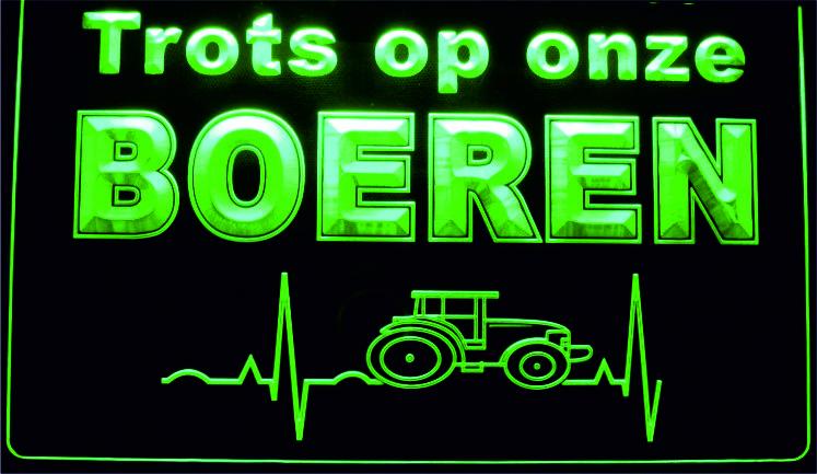 TROTS op onze Boeren 3D LED neon sign Groen LD6078GR.