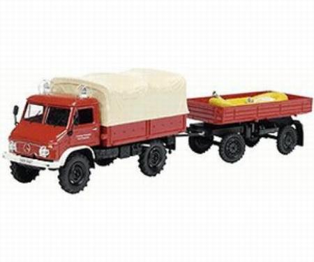 Unimog 404S + trailer+ boot vrijwillige brandweer Schuco  Schaal 1:43