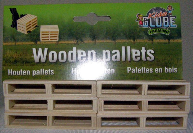 Houten Pallets 6 stuks Kids Globe KG61.0023 1/16 Schaal 1:16