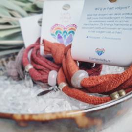 'Herinneringsbandje' - Hartenvolger armbandje - herinner - ritueel - volg je hart - dromen - manifesteren - edelsteen - rozenkwarts - mosagaat - aventurijn - hartsverbinding - liefde