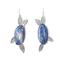Silver leaf earrings with Kyanite