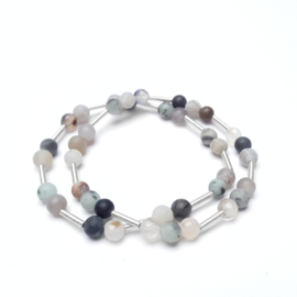 Set of Bracelets With Silver and Agate