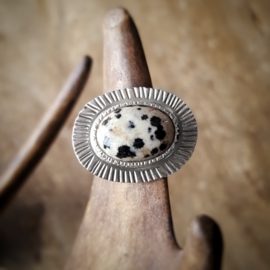 Zilveren Ring met Dalmatiër Jaspis