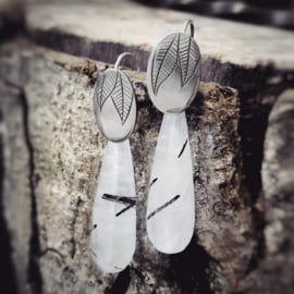 Silver Earrings With Rutilated Quartz