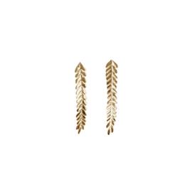 Lange gouden blaadjes oorstekers