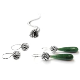 Zilveren Besjes Oorbellen met Aventurijn Druppels