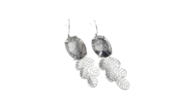 Silver Leaves Earrings With Moss Agate