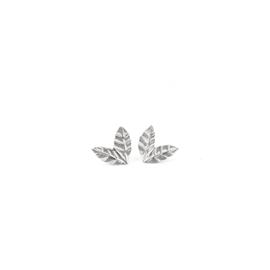 Zilveren blaadjes oorstekers mini