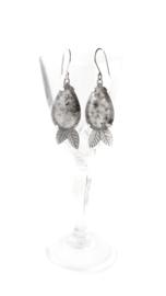 Zilveren Blaadjes Oorbellen met Mos Agaat