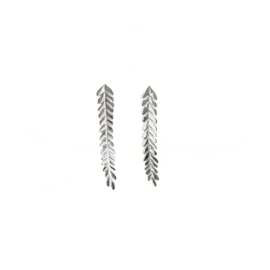 Long silver leaves earstuds