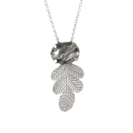 Silver Leaves Necklace with Moss Agate