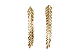 Long golden leaves earstuds