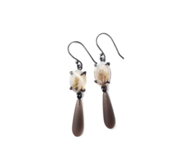 Dendritic Agate Earrings With Smokey Quartz