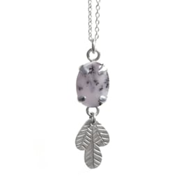 Silver Leaves Necklace with Dendritic Opal
