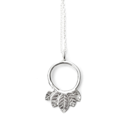 Silver leaves necklace.