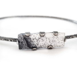 Silver Hammered Bracelet With Dendritic Agate
