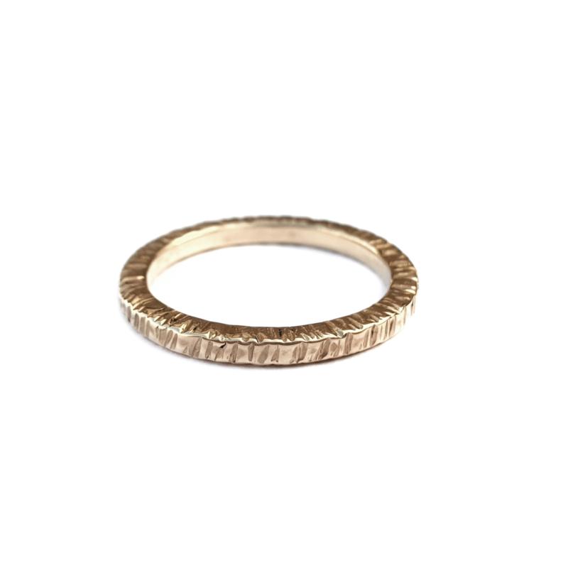Golden Hammered Wedding Ring