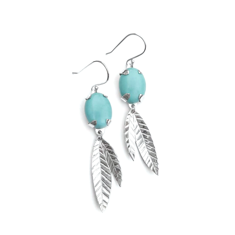 Silver leaves earrings with turquoise