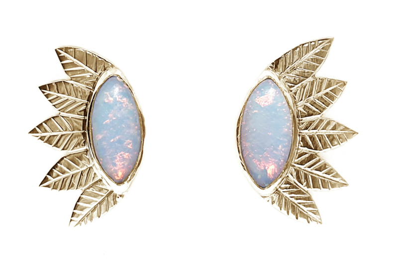 Golden leaves earrings with sterling opal