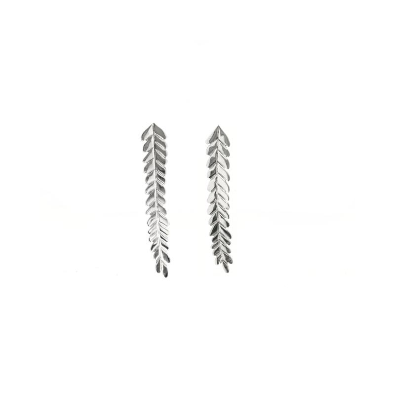 Long silver leaves earstuds