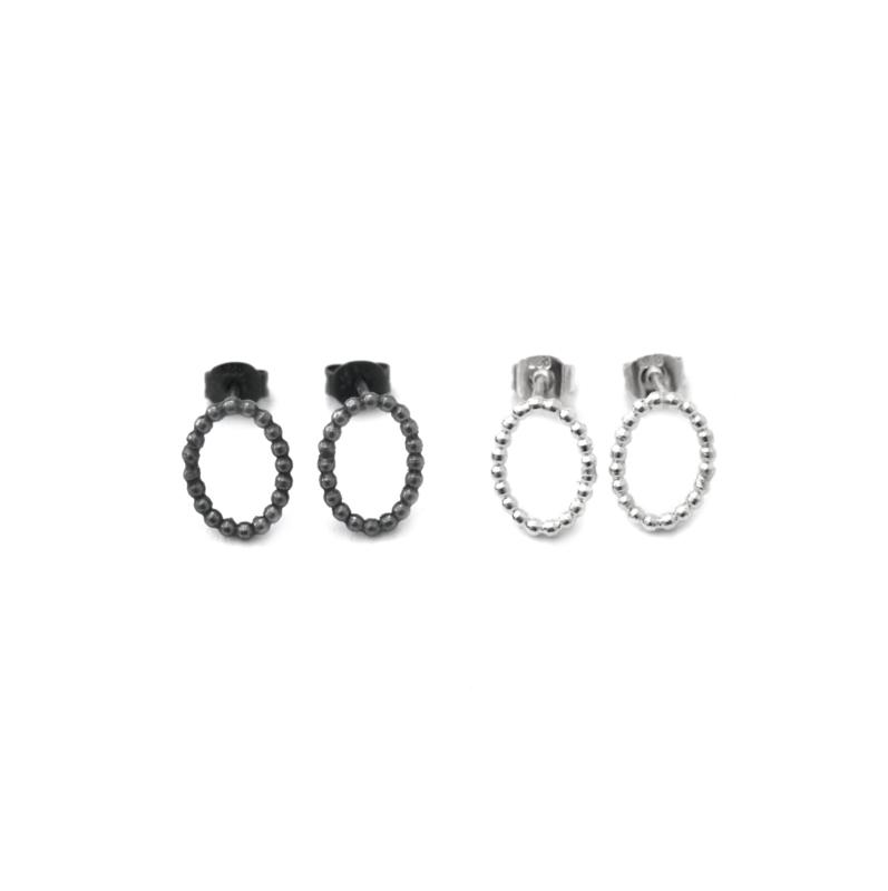 Silver Oval Ear Studs