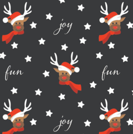 Kerst inpakpapier zwart per rol