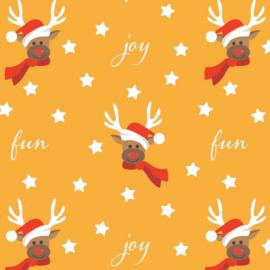 Kerst inpakpapier geel per rol