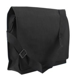 Schoudertas non-woven zwart/mat laminaat doos 100 stuks
