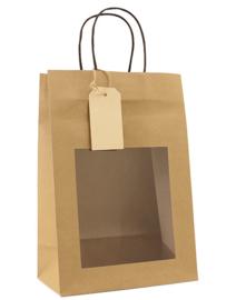 Papieren cadeautas bruin (S) Doos van 100 stuks