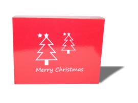 Luxe magneetdoos Rood kerstbomen (vinyl bedrukt)
