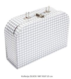 Koffertje 25 cm Zilver Wit Ruit