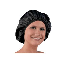 Permanentmuts met elastiek, zwart polyester