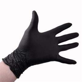 Wegwerphandschoen - Nitril Poedervrij Zwart - S - 100 stuks