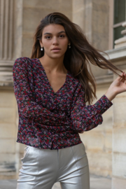 Colourful Rebel Elin Flower V-neck Button Blouse Red / Purple